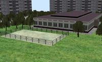 Модель административного здания c прилегающей территорией