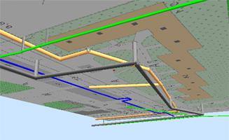 Трехмерная модель системы трубопроводов (вид снизу)